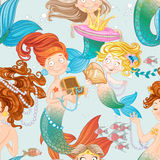 Seamless pattern with mermaids with jewelry Stock Photos