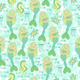 Seamless pattern with mermaids, seahorse,. Turtle, jellyfish and fish Royalty Free Stock Images