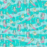 Seamless pattern with mermaids and tritons Stock Images