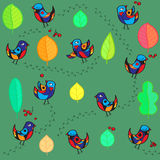 Seamless pattern with merry birds and leaf Stock Image