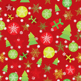 Seamless pattern Merry Christmas Card, red green. Yellow white Christmas decorations on red background. Vector illustration Royalty Free Stock Image