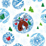 Seamless pattern, merry christmas, moose Stock Photos