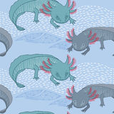Seamless pattern with Mexican axolotl Stock Photography