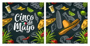 Seamless pattern mexican food and Cinco de Mayo handwriting lettering. Glass tequila, tacos nachos, and vegetables. Vector color vintage engraving illustration