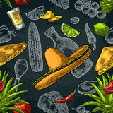 Seamless pattern mexican food. Glass tequila, bottle, sombrero, tacos, vegetables. Seamless pattern mexican food. Glass tequila, bottle, sombrero, tacos and Stock Images
