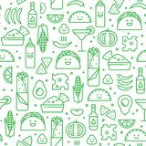 Seamless pattern of mexican food, line style. Vector seamless pattern of mexican cuisine. Traditional food and drink line icons like taco, nacho and burrito stock illustration