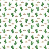 Seamless pattern Mexican sombrero hat and cactus on white background wallpaper textile vector giftwrap. Vector illustration Royalty Free Stock Image