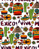 Seamless pattern with mexican symbols Stock Photo