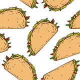 Seamless Pattern with Mexican Taco in Wheat Tortilla Royalty Free Stock Images