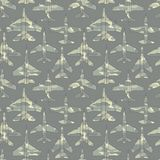 Seamless pattern with military airplanes 02 Stock Photo