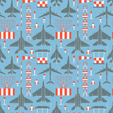 Seamless pattern with military airplanes 05 Royalty Free Stock Photo