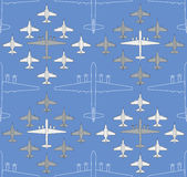 Seamless pattern with military airplanes 04 Royalty Free Stock Photo
