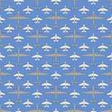 Seamless pattern with military airplanes 03 Stock Image