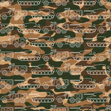 Seamless pattern with military machines on camouflage background Stock Photo