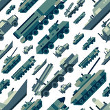 Seamless pattern of military machines. Set of army force technics include tank, truck, marine destroyer, armored troop carrier. Modern flat illustration art Stock Images