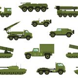 Seamless pattern with military transport on white background - tank, artillery tractor, rocket launching system. Backdrop with combat vehicles of various types Stock Photo