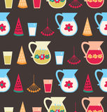 Seamless pattern with milk, berries Royalty Free Stock Photography
