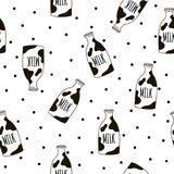 Seamless pattern with milk bottles. Vector template for bedding pattern. Stock Photos