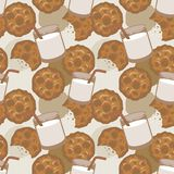 Seamless pattern with milk and cookies stock photography