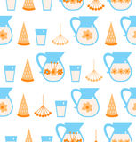 Seamless pattern with milk, melon Royalty Free Stock Photography