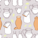 Seamless pattern with milk objects Royalty Free Stock Photography