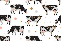 Seamless pattern with milk spotted cows in black, white, gray, gold and pink. Agriculture, farming, village life. Pet. vector illustration