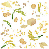 Seamless pattern with millet foodstuff. There are millet ears, bread, flour, grains, flakes and cookies in the pattern Royalty Free Stock Image
