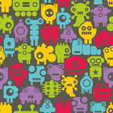 Seamless pattern with mini monsters nanobots Stock Photos