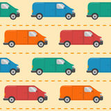 Seamless pattern with minivan cars. Seamless pattern with colorful minivan cars in flat style on the road Stock Illustration