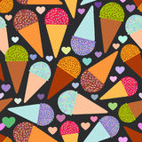 Seamless pattern with mint raspberry chocolate Ice cream waffle cone, pastel colors black polka dot black background with hearts. Vector illustration Royalty Free Stock Image