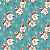 Seamless pattern with mittens Stock Photo