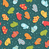 Seamless pattern with mittens and snow Royalty Free Stock Photo