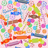 Seamless pattern with mixed colorful candies Royalty Free Stock Image