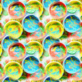Seamless pattern. Mixed paint in plastic jars. Royalty Free Stock Photo