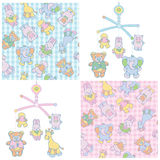 Seamless pattern and mobile for baby's boy and gir Stock Photos