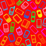 Seamless Pattern with Mobile devices Stock Images