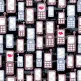 Seamless pattern with mobile phones and hearts. Royalty Free Stock Photos