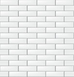 Seamless pattern with modern rectangular brick white tiles. Realistic horizontal texture. Vector illustration. Stock Photography