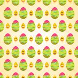Seamless pattern of Easter eggs with pink tip and smileys. Seamless pattern of modern styled emojis eggs and Easter decorative eggs with gradient background Stock Image