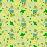 Seamless pattern with Mojito cocktail. Hand drawn  illustration. Royalty Free Stock Images