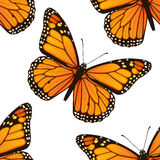 Seamless pattern with monarch butterflies Royalty Free Stock Images