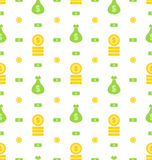 Seamless Pattern with Money Bag, Bank Notes, Coins, Flat Finance Icons Royalty Free Stock Photography