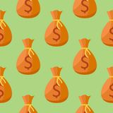 Seamless pattern with money bag. On green background. Vector texture Stock Photo