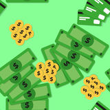 Seamless pattern with money - banknotes and coins Stock Photo