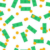 Seamless Pattern with money and banknotes Royalty Free Stock Images