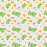 Seamless pattern of money bills and coins. Vector Illustration. Royalty Free Stock Image