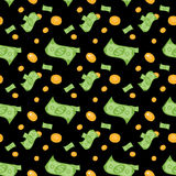 Seamless pattern of money bills and coins. Vector Illustration. Royalty Free Stock Photos