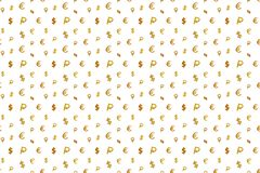 Seamless pattern with money icons: euro, dollar and ruble. Illustration for background or wallpaper royalty free stock images