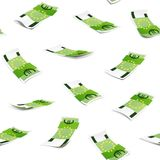 Seamless pattern with money isolated on white background. One hundred Euro banknote. Images for your design projects stock illustration