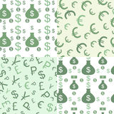 Seamless pattern with money. Seamless pattern set with money coins, money bags and dollar signs on them Stock Image
